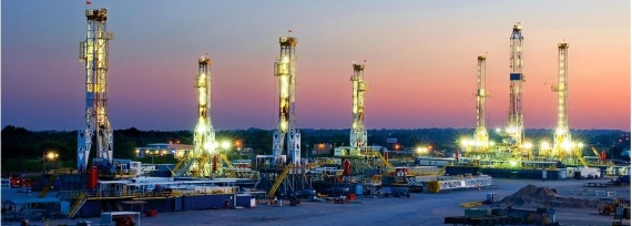 Rigs at night